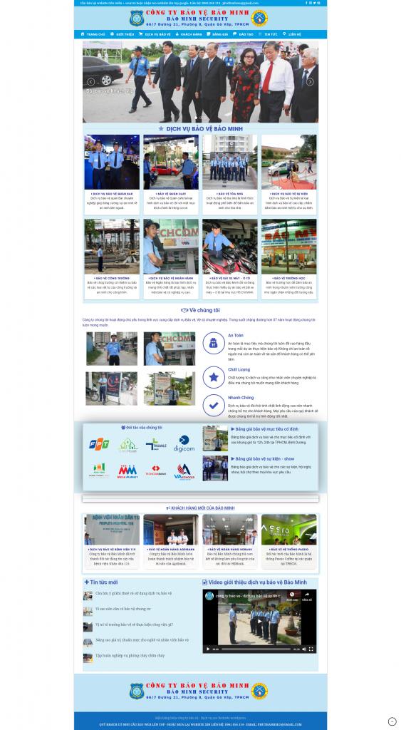 thiết kế website, seo website dịch vụ bảo vệ