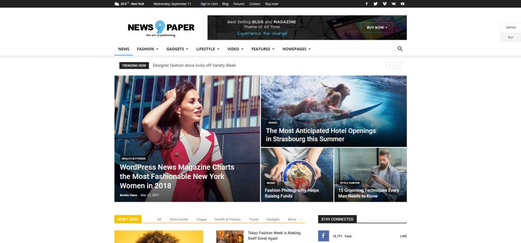 Theme newspaper phổ biến cho website tin tức, giới thiệu.