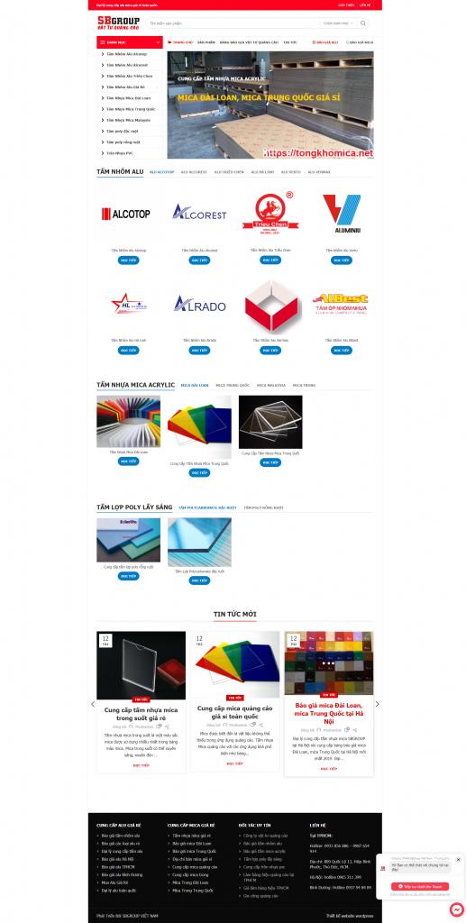mẫu website mua bán alu mica