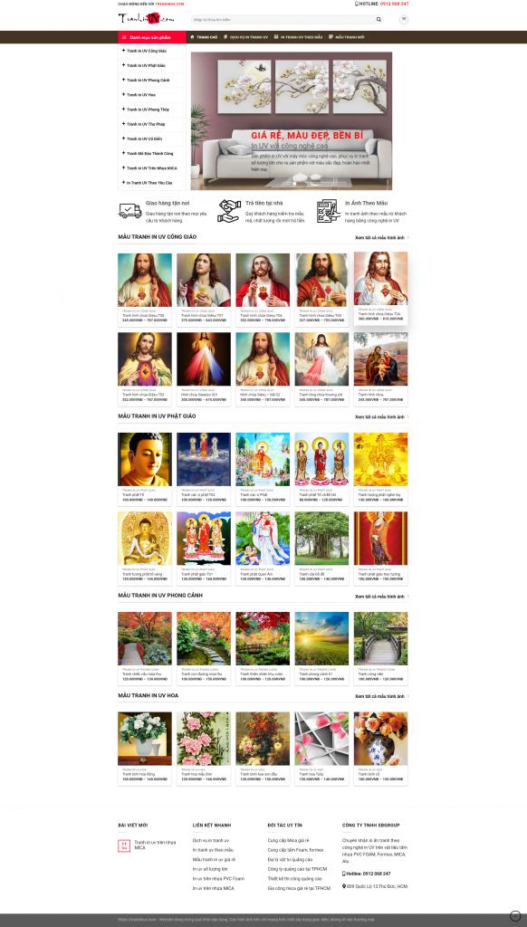 mẫu website tranh in uv đẹp
